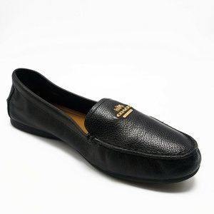 COACH Opal Black Leather Logo Loafers Slip Ons